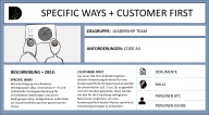 SPECIFIC WAYS / CUSTOMER FIRST